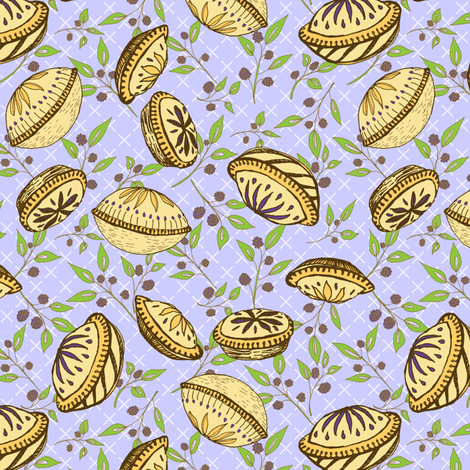 Brazenberry Pastry Treats on Misty Mauve Lattice - Antique fabric by rhondadesigns on Spoonflower - custom fabric