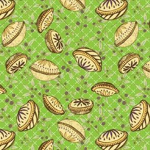 Brazenberry Pastry Treats on Lime Lattice - Antique