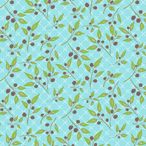 Brazenberry Clusters on  Sky Blue Lattice - Antique fabric by rhondadesigns on Spoonflower - custom fabric