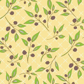 Brazenberry Clusters on Light Butter Yellow Lattice - Antique