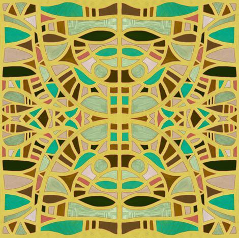 Gaudian masks in mustard + chrysoprase by Su_G fabric by su_g on Spoonflower - custom fabric