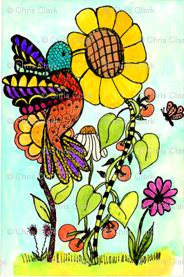 Hummingbird_and_Sunflower__4_x_7