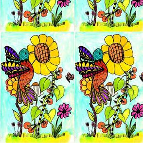 Hummingbird_and_Sunflower__4_x_7