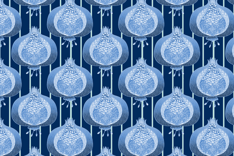 Pomegranate Delight - Blue and Mint Custom fabric by glimmericks on Spoonflower - custom fabric