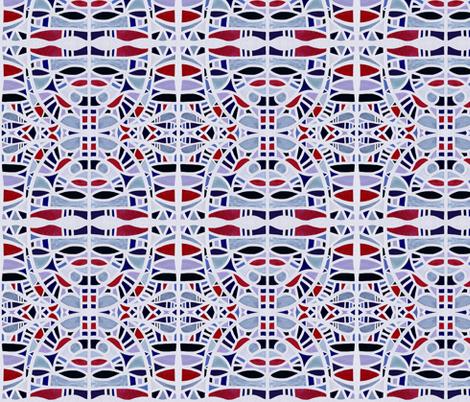 Gaudian masks in red + blues by Su_G fabric by su_g on Spoonflower - custom fabric