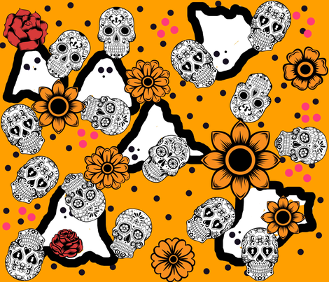 Ghosts of Cinco de Mayo fabric by frances_hollidayalford on Spoonflower - custom fabric
