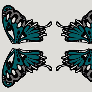 Teal wings appliques