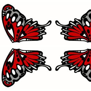 Red nouveau wing applique