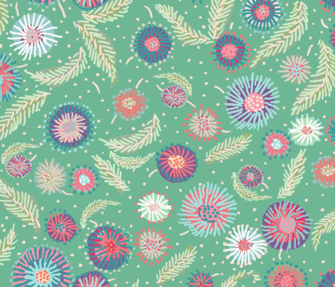 asters_green fabric by lfntextiles on Spoonflower - custom fabric