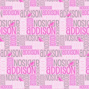 Personalised Name Fabric - Pink Birds with Grey