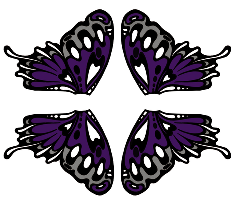 Large nouveau purple wing appliques fabric by whimzwhirled on Spoonflower - custom fabric