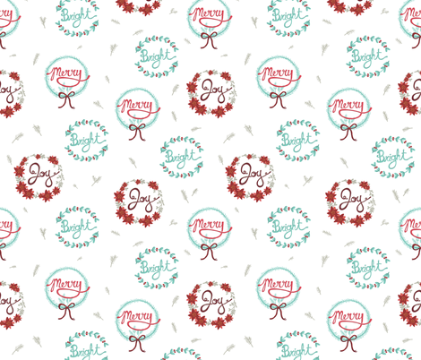 Happy Holiday Wreaths fabric by joyfulroots on Spoonflower - custom fabric