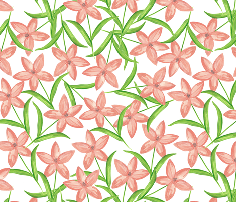 Peachy Flowers fabric by whimsymilieu on Spoonflower - custom fabric