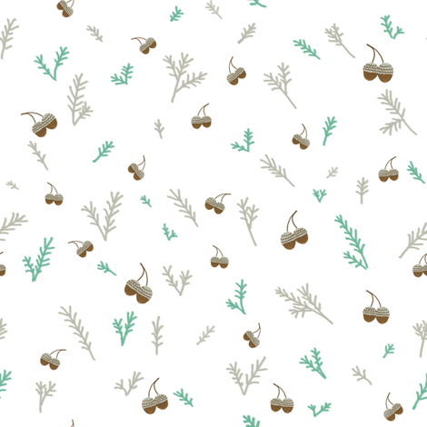 Pine and Acorns fabric by joyfulroots on Spoonflower - custom fabric