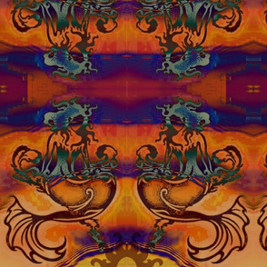 Sitting Pretty Batik Mermaids-orange