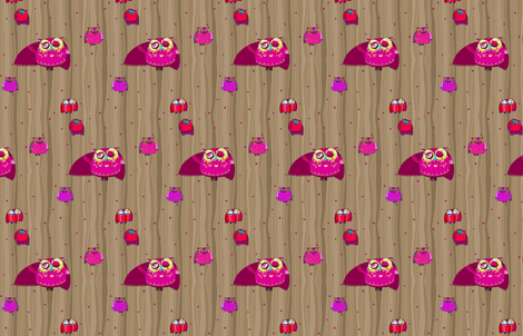 Owls in pink fabric by natalia_nogueira on Spoonflower - custom fabric