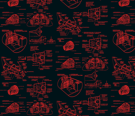 Space shuttle red fabric craftyscientists spoonflower for Red space fabric