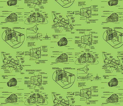 Space shuttle black on green fabric craftyscientists for Space shuttle fabric