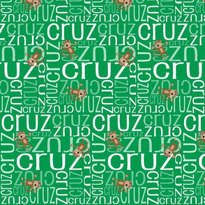 Personalised Name Fabric - Green Monkeys
