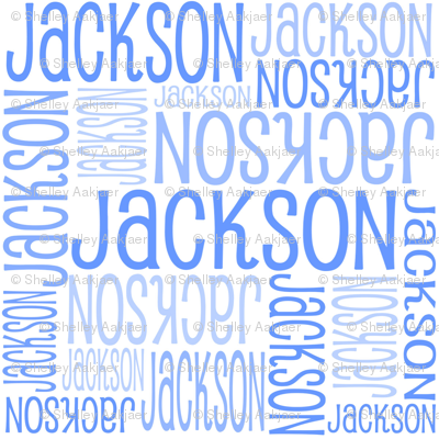 Personalised Name Fabric - White with Blue 3