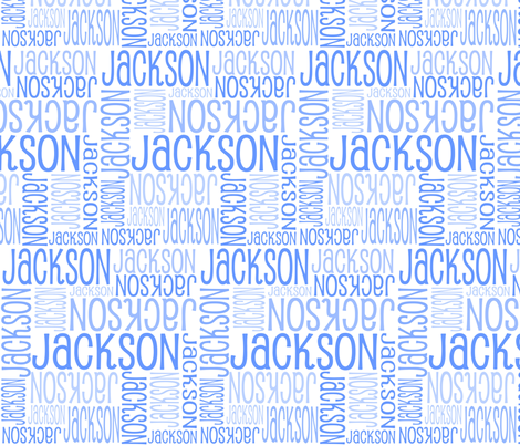 Personalised Name Fabric - White with Blue 3 fabric by shelleymade on Spoonflower - custom fabric