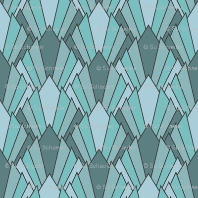 Art deco diamond fans, turquoise by Su_G
