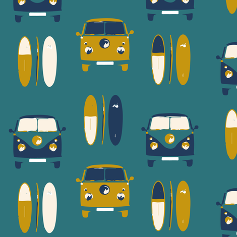 Camper van surf colour 5 - smaller scale  fabric by gemmacosgroveball on Spoonflower - custom fabric
