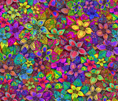 FLOWERS MISH MASH XL ORIGINAL fabric by paysmage on Spoonflower - custom fabric