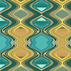 Green Teal & Orange Abstract Design