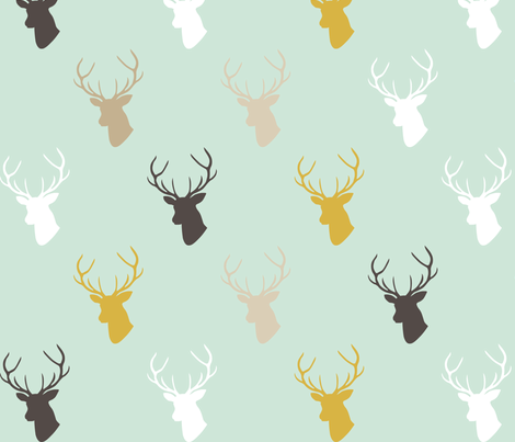Deer In Mint fabric by mrshervi on Spoonflower - custom fabric