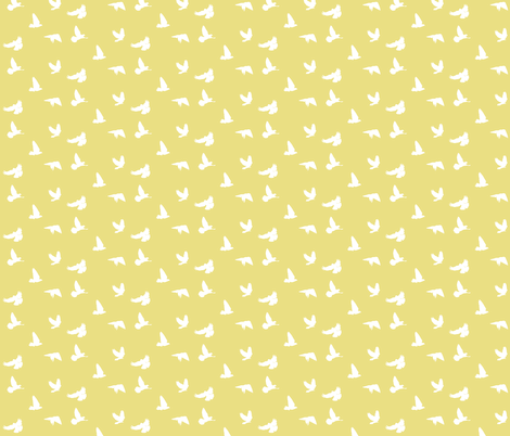 Doves in Flight, Tumbleweed Yellow for Desert Meadow Collection fabric by thistleandfox on Spoonflower - custom fabric