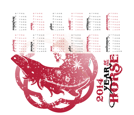 2014 Calendar: Year of the Horse fabric by lucindawei on Spoonflower - custom fabric