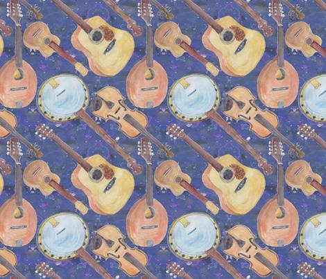 Strumming the Strings Blue fabric by bloomingwyldeiris on Spoonflower - custom fabric