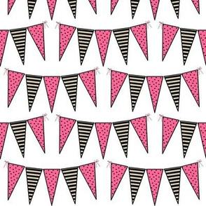 Black Pink White Cream Mini Pennant Buntings