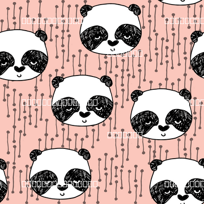 Panda Head Pink Cute Design By Andrea Lauren Fabric