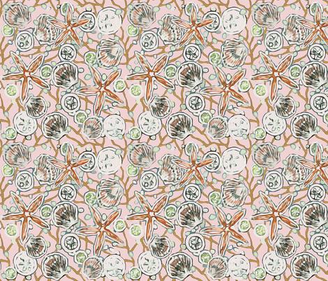 Bermuda Sand with Orange Starfish & Sand Dollars fabric by lauriekentdesigns on Spoonflower - custom fabric