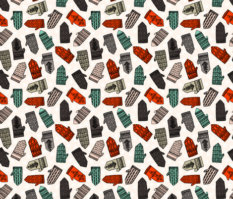 Ditsy Mittens Contest fabric by andrea_lauren on Spoonflower - custom fabric