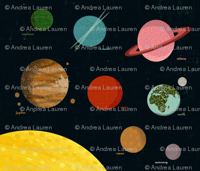 solar system // planets wall hanging 1 FQ planets fabric