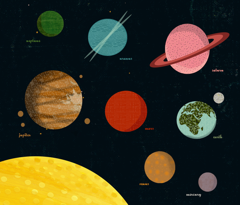 solar system // planets wall hanging 1 FQ planets fabric fabric by andrea_lauren on Spoonflower - custom fabric