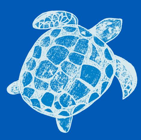 Loggerhead Sea Turtle the blues fabric by lisakling on Spoonflower - custom fabric