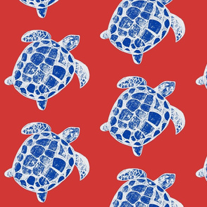Loggerhead Sea Turtle Patriotic red, white and Blue