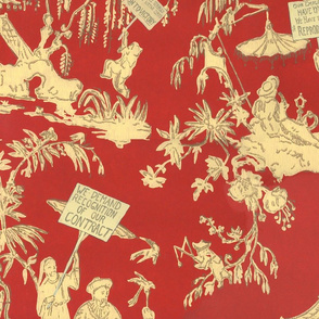 Chinoiserie Labor Protest Pattern