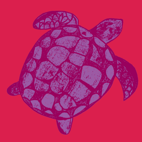 Loggerhead Sea Turtle Pink and Purple fabric by lisakling on Spoonflower - custom fabric