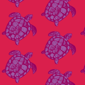 Loggerhead Sea Turtle Pink and Purple