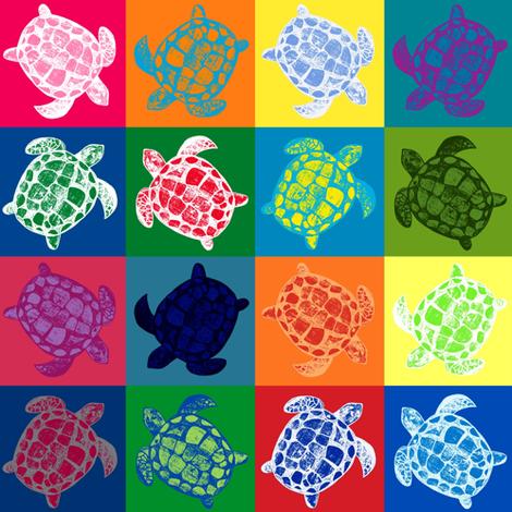 Loggerhead Sea Turtle Patchwork fabric by lisakling on Spoonflower - custom fabric