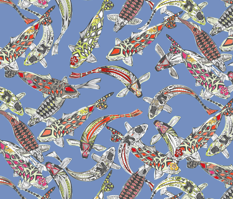 lucky koi periwinkle fabric by scrummy on Spoonflower - custom fabric