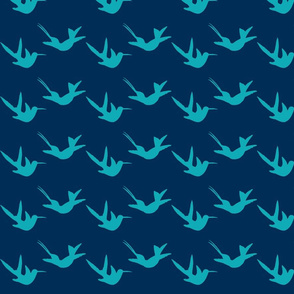 hummingbirds lt blue on dark blue