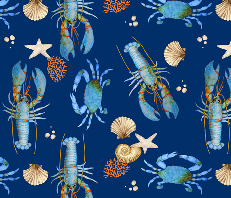 Lobster and Crab Bisque (blue) fabric by golders on Spoonflower - custom fabric