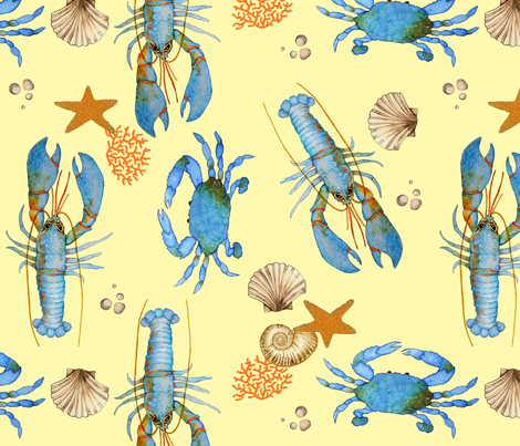 Lobster and Crab Bisque (yellow) fabric by golders on Spoonflower - custom fabric