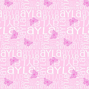 Personalised Name Fabric - Pink Butterfly